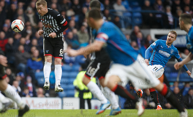Stevie Smith curls in a free kick to open the scoring for Rangers