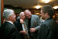 Vince Lombardi Jr., sports writer Bud Lea, former Green Bay Packer guard Jerry Kramer and film maker Ted Demme at the Lombardi's Legends Reunion at Lombardi's Steakhouse in Appleton, Wisconsin in September of 2001. Demme, who was working on a feature-length movie about Lombardi's Packers died only four months later.