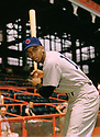 CIRCA 1960's:  Ernie Banks #14 of the Chicago Cubs portrait before a game from his career with the Chicago Cubs.  Ernie Banks played all of his 18 seasons with the Chicago Cubs, was an 11-time All-Star, National League MVP in 1958, 1959 and was inducted to the Baseball Hall of Fame in 1977.(Photo by: 1960  SportPics  )  Ernie Banks