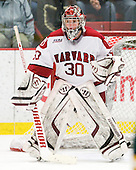 Raphael Girard (Harvard - 30) - The Harvard University Crimson defeated the visiting Clarkson University Golden Knights 3-2 on Harvard's senior night on Saturday, February 25, 2012, at Bright Hockey Center in Cambridge, Massachusetts.