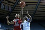 13 November 2015: Gardner-Webb's Candace Brown (22) blocks a shot by North Carolina's Jamie Cherry (10). The University of North Carolina Tar Heels hosted the Gardner-Webb University Runnin' Bulldogs at Carmichael Arena in Chapel Hill, North Carolina in a 2015-16 NCAA Division I Women's Basketball game. Gardner-Webb won the game 66-65.
