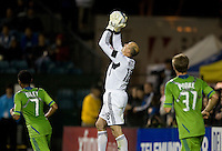 Sounders goalkeeper Kasey Keller makes a save during the game against the Earthquakes at Buck Shaw Stadium in Santa Clara, California on April 2nd, 2011.   San Jose Earthquakes and Seattle Sounders are tied 2-2.