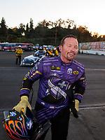 Nov 17, 2019; Pomona, CA, USA; NHRA funny car driver Jack Beckman celebrates after winning the Auto Club Finals at Auto Club Raceway at Pomona. Mandatory Credit: Mark J. Rebilas-USA TODAY Sports