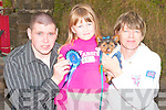 Chris O'Mahony, Catherina Somers and Helena O'Mahony with the Yorkshire terrier after winning second prize at the dog show at the Dan paddy Andy festival in Lyrecrompane on Saturday...   Copyright Kerry's Eye 2008