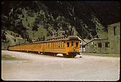 9 yellow coaches in Silverton.<br /> D&amp;RGW  Silverton, CO