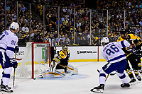 May 2, 2018: Boston Bruins goaltender Tuukka Rask (40) makes a save during game three of the second round of the National Hockey League's Eastern Conference Stanley Cup playoffs between the Tampa Bay Lightning and the Boston Bruins held at TD Garden, in Boston, Mass. Tampa Bay defeats Boston 4-1. Eric Canha/CSM