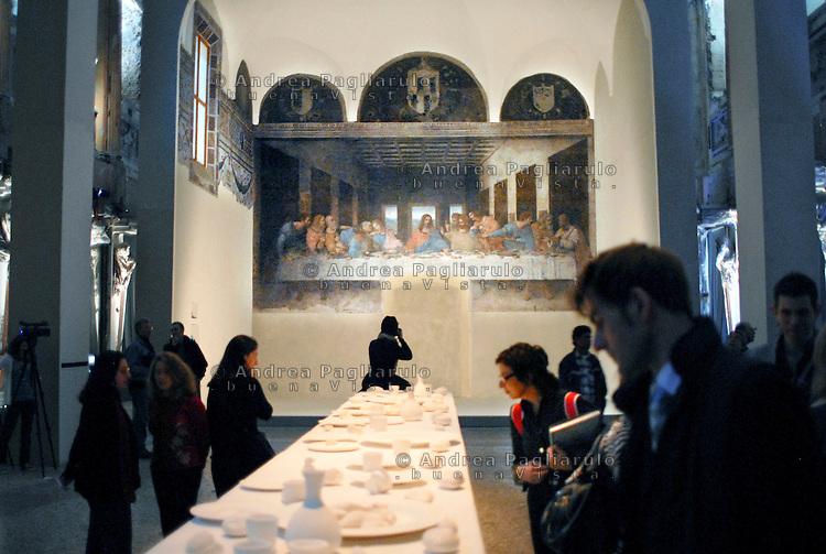Milano, Palazzo Reale, mostra &quot;Cenacolo di Leonardo&quot; di Peter Greenaway. <br /> Milan, Palazzo Reale, Peter Greenaway's &quot;Leonardo's last supper&quot; exhibition.