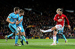 Zlatan Ibrahimovic of Manchester United fires a shot at goal during the UEFA Europa League match at Old Trafford, Manchester. Picture date: November 24th 2016. Pic Matt McNulty/Sportimage