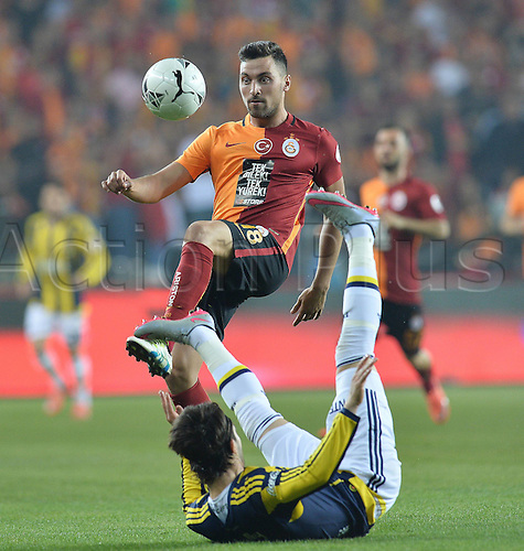 26.05.2016. Antalya , Turkey. Ziraat Turkish Cup Final match between Fenerbahce and Galatasaray at Antalya Arena on May 26.  Hasan Ali Kaldirim of Fenerbahce and Sinan Gumus of Galatasaray.