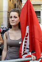 Roma, 4 Ottobre 2014<br /> Piazza Santi Apostoli<br /> Manifestazione di Sinistra, Ecologia e Libertà per una nuova politivca economica, contro l'austerity