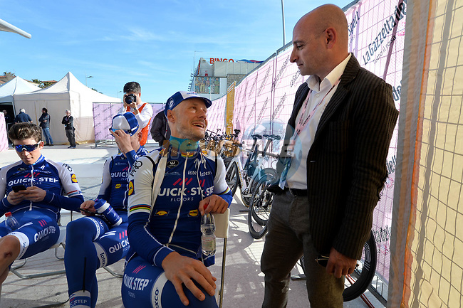 Tom Boonen (BEL) Quick-Step Floors chats with former champion Paolo Bettini before the start of the 1st stage of the race of the two seas, 52nd Tirreno-Adriatico by NamedSport a 22.7km Team Time Trial around Lido di Camaiore, Italy. 8th March 2017.<br /> Picture: La Presse/Gian Mattia D'Alberto | Cyclefile<br /> <br /> <br /> All photos usage must carry mandatory copyright credit (&copy; Cyclefile | La Presse)