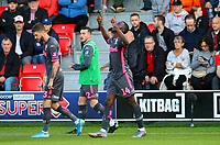 Leeds United's Eddie Nketiah celebrates scoring the opening goal <br /> <br /> Photographer Alex Dodd/CameraSport<br /> <br /> The Carabao Cup First Round - Salford City v Leeds United - Tuesday 13th August 2019 - Moor Lane - Salford<br />  <br /> World Copyright © 2019 CameraSport. All rights reserved. 43 Linden Ave. Countesthorpe. Leicester. England. LE8 5PG - Tel: +44 (0) 116 277 4147 - admin@camerasport.com - www.camerasport.com
