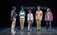Starring: Chris Wilbur '21; Abby Howell '21; Carey Cannata '21; Milan Khali '19. Photo from the dress rehearsal of the Occidental College Department of Theater presentation of Country Music, written by Simon Stephens and directed by John Bouchard, Nov. 29, 2017 in Keck Theater. The action takes place in Thurrock, Essex; Her Majesty's Prison, Grendon, Buckinghamshire; and Durham Road, Sunderland, between 1983 and 2004.<br /> (Photo by Marc Campos, Occidental College Photographer)