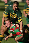 D. Olsen gets a helping hand from D. Crighton as he goes to ground. Counties Manukau Premier Club Rugby, Pukekohe v Waiuku  played at the Colin Lawrie field, on the 3rd of 2006.Pukekohe won 36 - 14