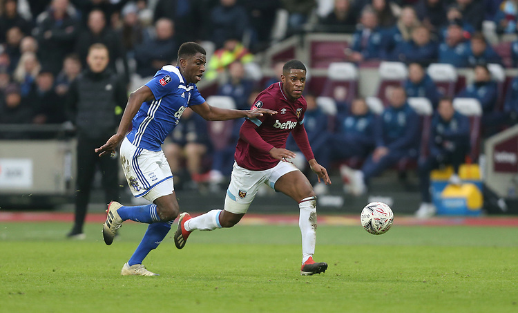 West Ham United's Xande Silva and Birmingham City's Wes Harding<br /> <br /> Photographer Rob Newell/CameraSport<br /> <br /> Emirates FA Cup Third Round - West Ham United v Birmingham City - Saturday 5th January 2019 - London Stadium - London<br />  <br /> World Copyright © 2019 CameraSport. All rights reserved. 43 Linden Ave. Countesthorpe. Leicester. England. LE8 5PG - Tel: +44 (0) 116 277 4147 - admin@camerasport.com - www.camerasport.com