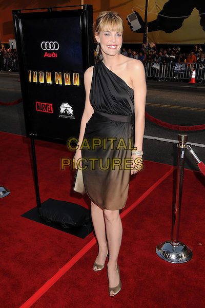 "LESLIE BIBB.""Iron Man"" Los Angeles Premiere at Grauman's Chinese Theatre, Hollywood, California, USA..April 30th, 2008.full length dress gold shoes one shoulder black dress .CAP/ADM/BP.©Byron Purvis/AdMedia/Capital Pictures."