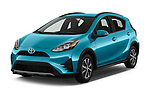 2018 Toyota Prius c One 5 Door Hatchback angular front stock photos of front three quarter view