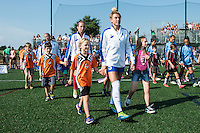 Allston, MA - Sunday July 17, 2016: Kassey Kallman, Jami Kranich, escort kids prior to a regular season National Women's Soccer League (NWSL) match between the Boston Breakers and Sky Blue FC at Jordan Field.
