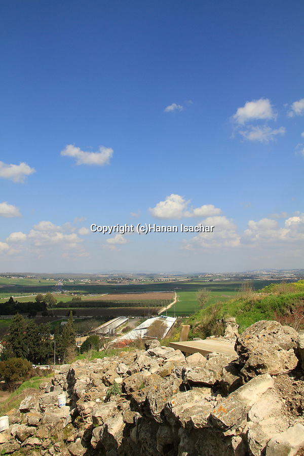 Israel, Tel Yokneam overlooking Jezreel valley, ruins of the biblical city wall