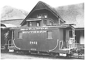 RGS caboose #0403 at Rico depot.<br /> RGS  Rico, CO  Taken by Schick, Joe