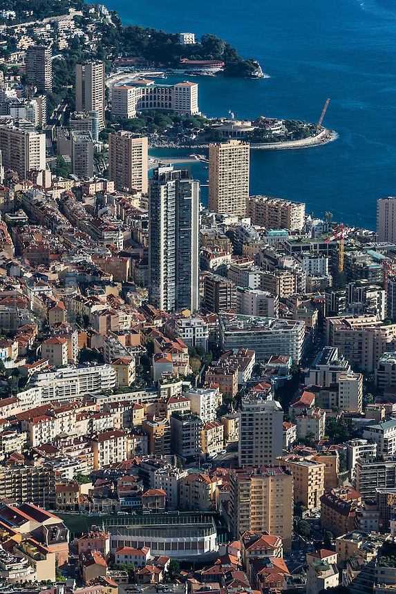 Aerial view of downtown Monte Carlo, Monaco