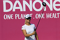 Defending Champion Anna Nordqvist (SWE) on the 1st tee during Thursday's Round 1 of The Evian Championship 2018, held at the Evian Resort Golf Club, Evian-les-Bains, France. 13th September 2018.<br /> Picture: Eoin Clarke | Golffile<br /> <br /> <br /> All photos usage must carry mandatory copyright credit (© Golffile | Eoin Clarke)
