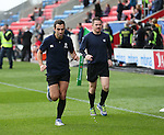 Referee Mathieu Raynal (l) warms up before the game, he later retired due to injury during the match - European Rugby Champions Cup - Sale Sharks vs Munster -  AJ Bell Stadium - Salford- England - 18th October 2014  - Picture Simon Bellis/Sportimage