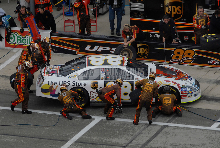 Nov 5, 2006; Fort Worth, TX, USA; Nascar Nextel Cup driver Dale Jarrett (88) pits during the Dickies 500 at Texas Motor Speedway. Mandatory Credit: Mark J. Rebilas