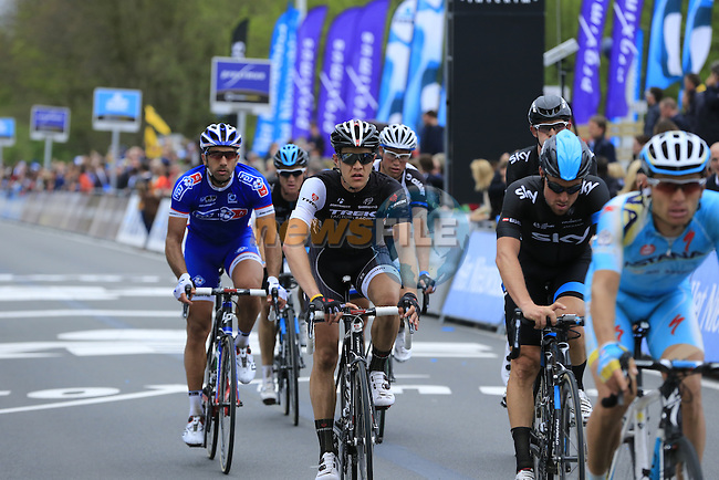 Riders cross the finish line of the 2014 Tour of Flanders, Oudenaarde, Belgium.<br /> Picture: Eoin Clarke www.newsfile.ie