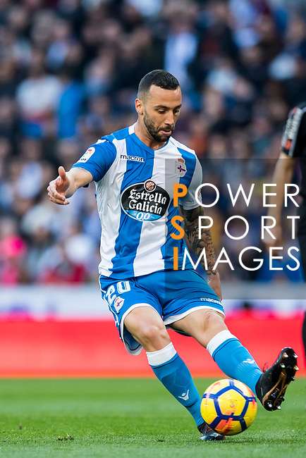 Guilherme dos Santos Torres of RC Deportivo La Coruna in action during the La Liga 2017-18 match between Real Madrid and RC Deportivo La Coruna at Santiago Bernabeu Stadium on January 21 2018 in Madrid, Spain. Photo by Diego Gonzalez / Power Sport Images