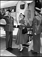 BNPS.co.uk (01202 558833)<br /> Pic: BAESystems<br /> <br /> The Queen leaving her Heron C3 to open Gatwick airport in 1958.<br /> <br /> A new book gives an intimate look behind the scenes of the Royal Flight and also the flying Royals.<br /> <br /> Starting in 1917 the book charts in pictures the 100 year evolution of first the King's Flight and then later the Queen's Flight as well as the Royal families passion for aviation.<br /> <br /> Author Keith Wilson has had unprecedented access to the Queen's Flight Archives to provide a fascinating insight into both Royal and aeronautical history.