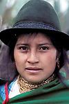 Young Girl Salasaca Girl, Ecuador, South America, wearing traditional clothing & hat