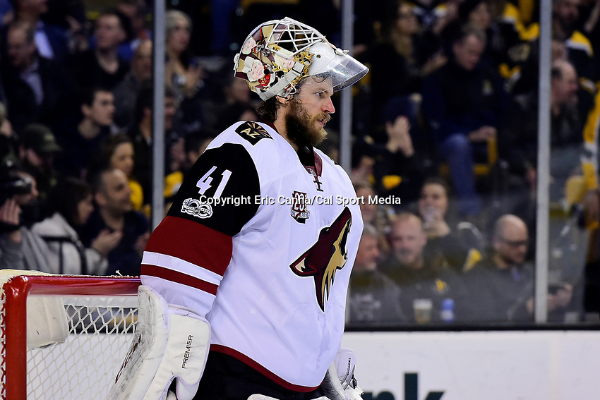 Tuesday, February 28, 2017: Arizona Coyotes goalie Mike Smith (41) waits for game action to resume during the National Hockey League game between the Arizona Coyotes and the Boston Bruins held at TD Garden, in Boston, Mass. Boston defeats Arizona 4-1. Eric Canha/CSM