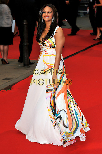 ALESHA DIXON .Red Carpet Arrivals for the British Academy Television Awards 2008, held at the London Palladium, London, England, April 20th 2008. .BAFTA BAFTA's full length white print dress yellow red green dress maxi gown .CAP/PL.©Phil Loftus/Capital Pictures