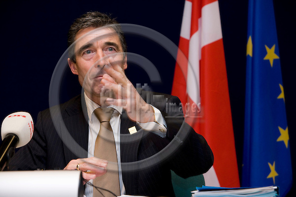 BRUSSELS - BELGIUM - 14 DECEMBER 2007 -- EU SUMMIT -- Anders Fogh RASMUSSEN, Danish Prime Minister, at the national press briefing after the EU-Summit. ---DENMARK OUT---Photo: Erik Luntang/EUP-IMAGES