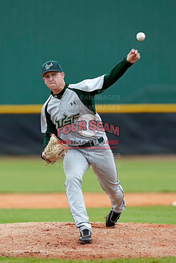 USF Bulls pitcher Kyle Parker #28 delivers a pitch during a game against the Ohio State Buckeyes at the Big Ten/Big East Challenge at Walter Fuller Complex on February 17, 2012 in St. Petersburg, Florida.  (Mike Janes/Four Seam Images)