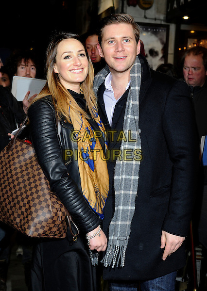 Guest & Allen Leech.Opening night of 'Macbeth' at the Trafalgar Studios, Whitehall, London, England, UK, February 22nd 2013..half length grey gray checked scarf black coat leather jacket louis vuitton bag .CAP/PP/GM.©Gary Mitchell/PP/Capital Pictures