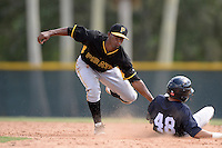 Pittsburgh Pirates second baseman Raul Siri (28) during an Instructional League game against the New York Yankees on September 18, 2014 at the Pirate City in Bradenton, Florida.  (Mike Janes/Four Seam Images)