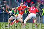 Marcus Mangan Kerry in action against Aidan Walsh and John Hayes  Cork in the McGrath cup final at Mallow on Sunday.