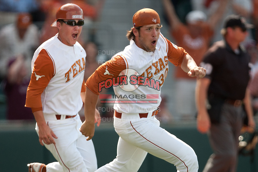 Texas player Landon Steinhagen #30 runs onto the field after his Longhorns scored the winning run in the bottom of the ninth inning against the Texas A&M Aggies on April 29, 2012 at UFCU Disch-Falk Field in Austin, Texas. The Longhorns beat the Aggies 2-1 in the last ever regular season game scheduled for the long time rivals. (Andrew Woolley / Four Seam Images)