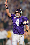 Minnesota Vikings quarterback Brett Favre (4) celebrates a touchdown during an NFL football game against the Green Bay Packers at the Hubert H. Humphrey Metrodome on October 5, 2009 in Minneapolis, Minnesota. The Vikings won 30-23. (AP Photo/David Stluka)