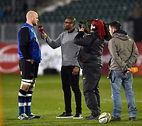 Matt Garvey of Bath Rugby is interviewed by Ugo Monye of BT Sport. Aviva Premiership match, between Bath Rugby and Exeter Chiefs on March 23, 2018 at the Recreation Ground in Bath, England. Photo by: Patrick Khachfe / Onside Images