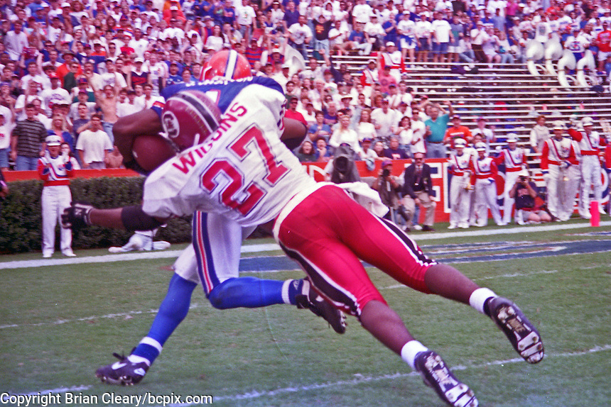 Jack Jackson (1), Lee Wiggins (27), University of Florida Gators defeat the University of South Carolina Gamecocks 48-17 at Ben Hill Griffin Stadium, Florida Field, Gainseville, Florida, November 12, 1994 . (Photo by Brian Cleary/www.bcpix.com)