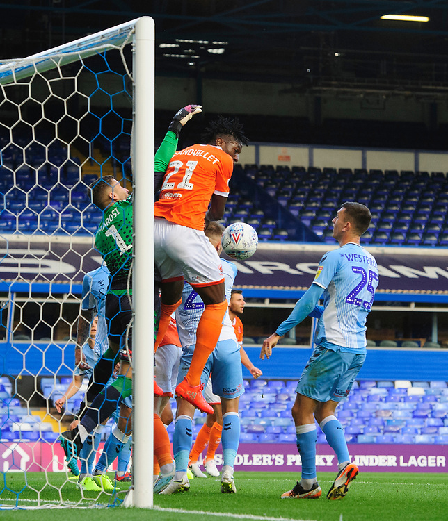 Blackpool's Armand Gnanduillet vies for possession with Coventry City's Marko Marosi<br /> <br /> Photographer Chris Vaughan/CameraSport<br /> <br /> The EFL Sky Bet League One - Coventry City v Blackpool - Saturday 7th September 2019 - St Andrew's - Birmingham<br /> <br /> World Copyright © 2019 CameraSport. All rights reserved. 43 Linden Ave. Countesthorpe. Leicester. England. LE8 5PG - Tel: +44 (0) 116 277 4147 - admin@camerasport.com - www.camerasport.com
