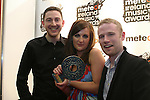 Ray Foley, Edel and Jp, Best National DJ at the Meteor Awards in the RDS...Photo NEWSFILE/Jenny Matthews.(Photo credit should read Jenny Matthews/NEWSFILE)....This Picture has been sent you under the condtions enclosed by:.Newsfile Ltd..The Studio,.Millmount Abbey,.Drogheda,.Co Meath..Ireland..Tel: +353(0)41-9871240.Fax: +353(0)41-9871260.GSM: +353(0)86-2500958.email: pictures@newsfile.ie.www.newsfile.ie.FTP: 193.120.102.198.