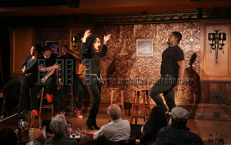 Nicole Vanessa Ortiz and Kyle Taylor Parker and cast during the Press Preview Presentation for the new production of 'Smokey Joe's Cafe' at Feinstein's/54 Below on June 27, 2018 in New York City.