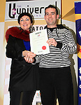 Adult Poetry runner-up, John Conroy, accepting from Mona Daly..Picture: Shane Maguire / www.newsfile.ie.