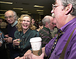 Tony Scaduto, Rosemary Skapley, Stan Wolfson and Warren Berry at champagne get together of Newsday staff in the City room to toast the departure of colleagues on Friday March 1, 2002. (Photo by Jim Peppler).