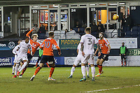 Cameron McGeehan of Luton Town (2nd left) scores his team's second goal of the game to make the score 2-1 during the Sky Bet League 2 match between Luton Town and Barnet at Kenilworth Road, Luton, England on 31 December 2016. Photo by David Horn.