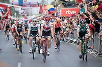 Sam Bennett (IRL/Bora-Hansgrohe) wins the bunch sprint into Alicante ahead of Edward Theuns (BEL/Trek-Segafredo)<br /> <br /> Stage 3: Ibi. Ciudad del Juguete to Alicante (188km)<br /> La Vuelta 2019<br /> <br /> ©kramon